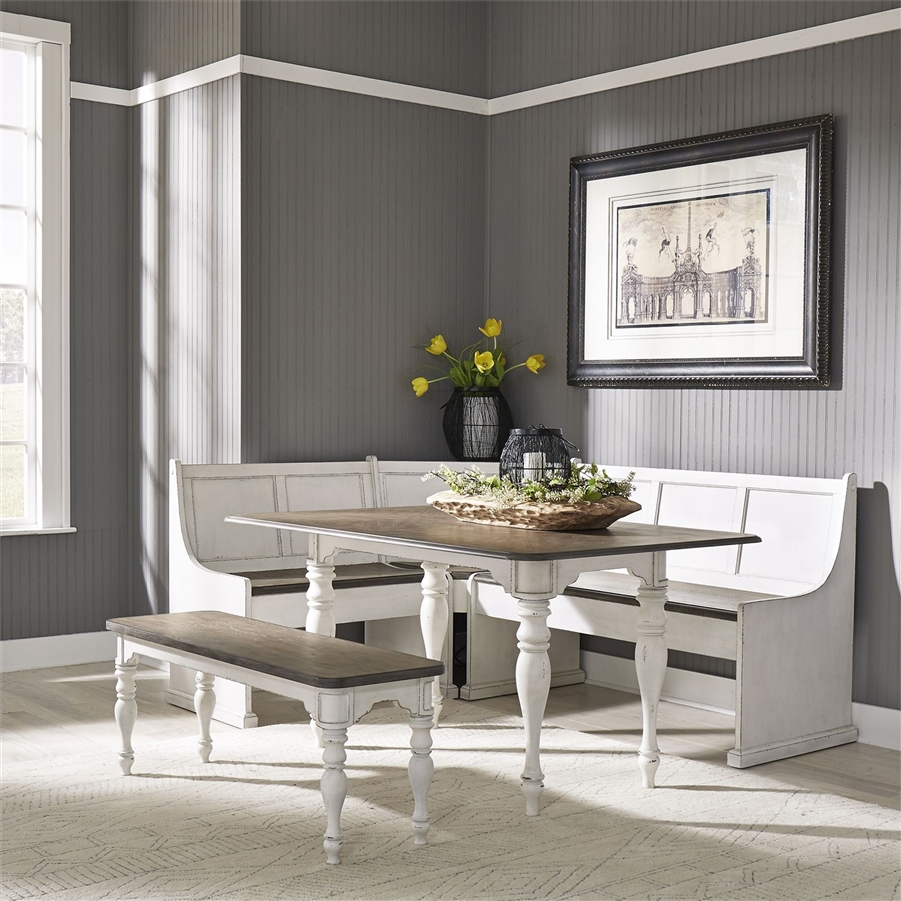 Magnolia Manor Nook Corner Rectangular Table 5 Piece Dining Set In Antique White Finish By Liberty Furniture 244 Cd 5rls