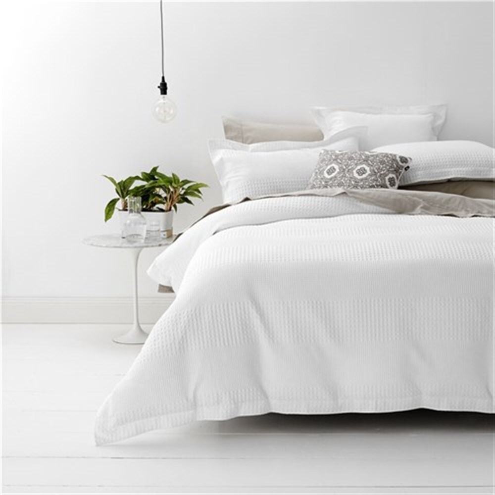 Single Doona Cover Style Co Cotton Jacquard Waffle Quilt Cover Set All Sizes White