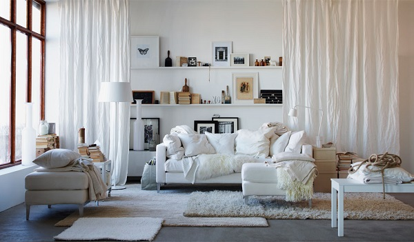 natural plants decorating idea paired with white sofa