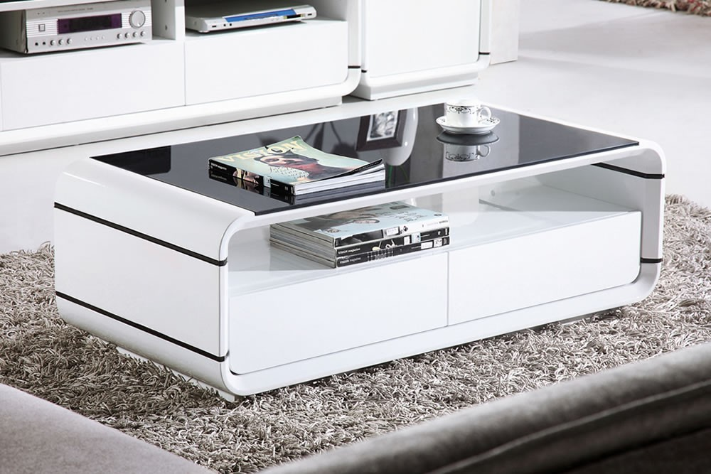 Used Design Couchtische White High Gloss Coffee Table With Storage Ideas