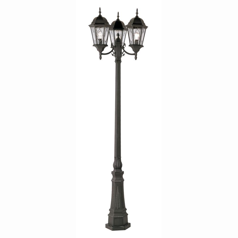 Bel Air Lighting Cameo 3 Light Outdoor Black Lamp Post - Outdoor Light On Pole