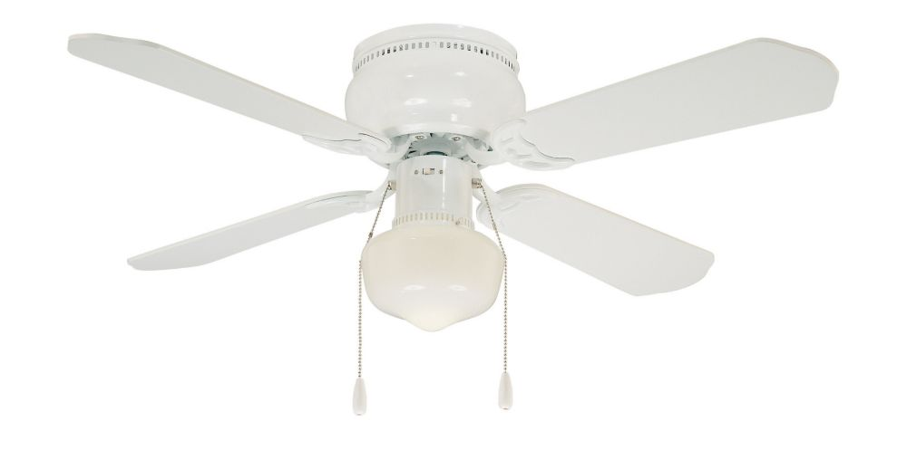 Hdg Littleton 42 Inch 4 Blade 1 Light White Indoor Ceiling Fan With Light Kit And Reversib The Home Depot Canada