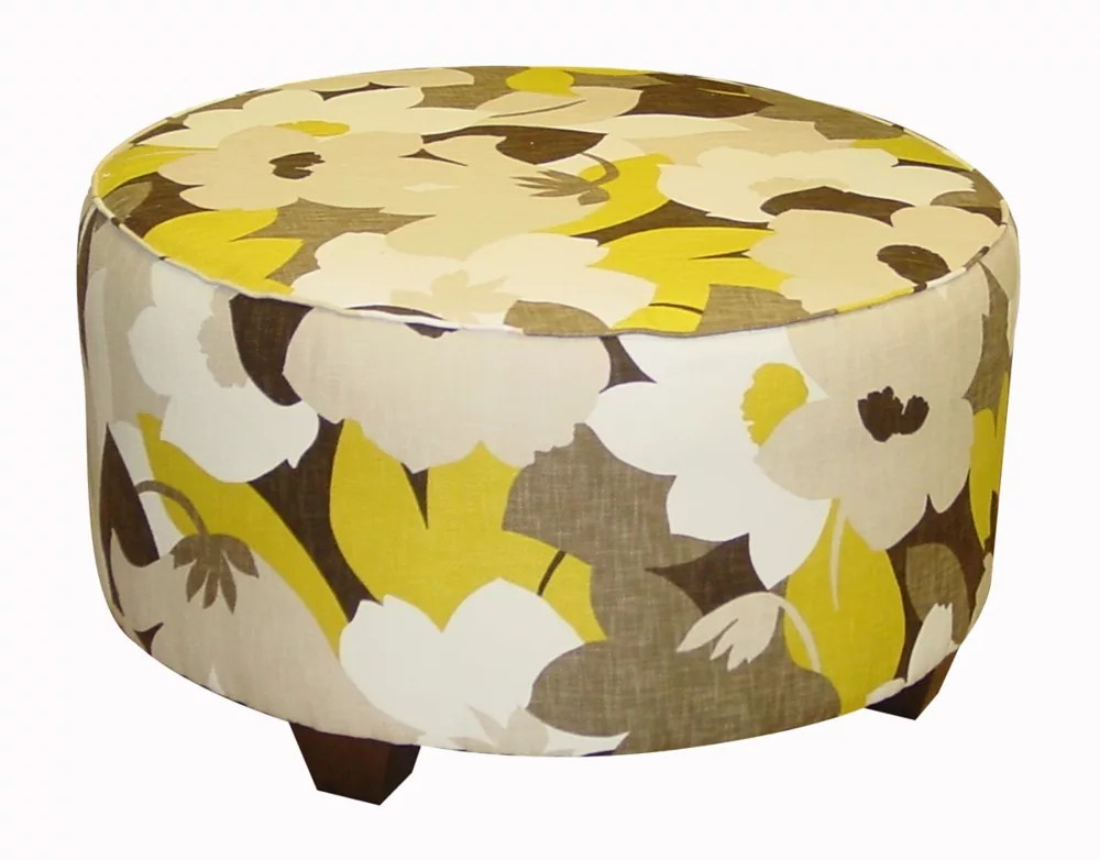 Skyline Furniture Pouf De Salon Rond À Motif Floral Multicolore Home Depot Canada