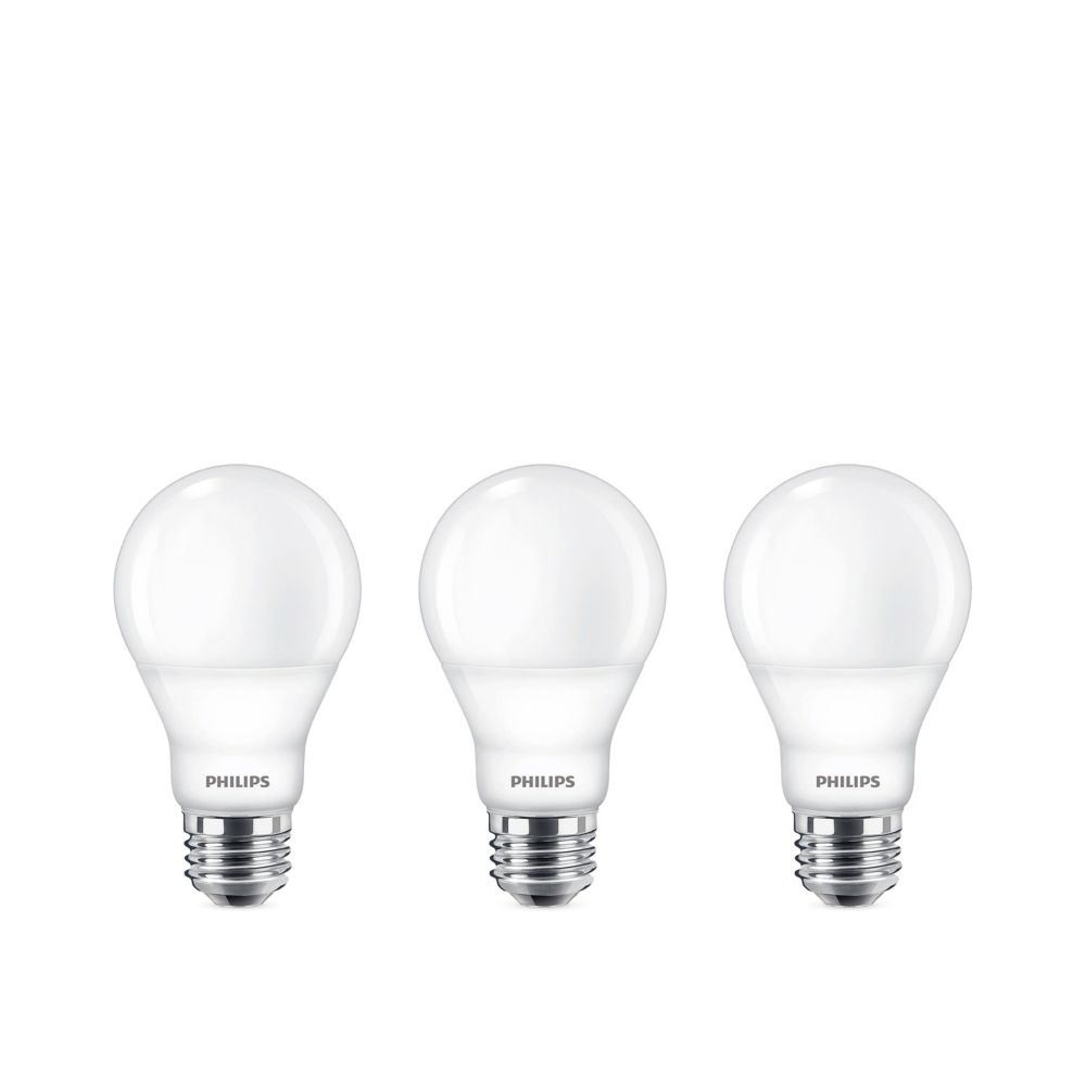 Philips 60w Equivalent Bright White 3000k A19 Led Light Bulb Energy Star 3 Pack The Home Depot Canada