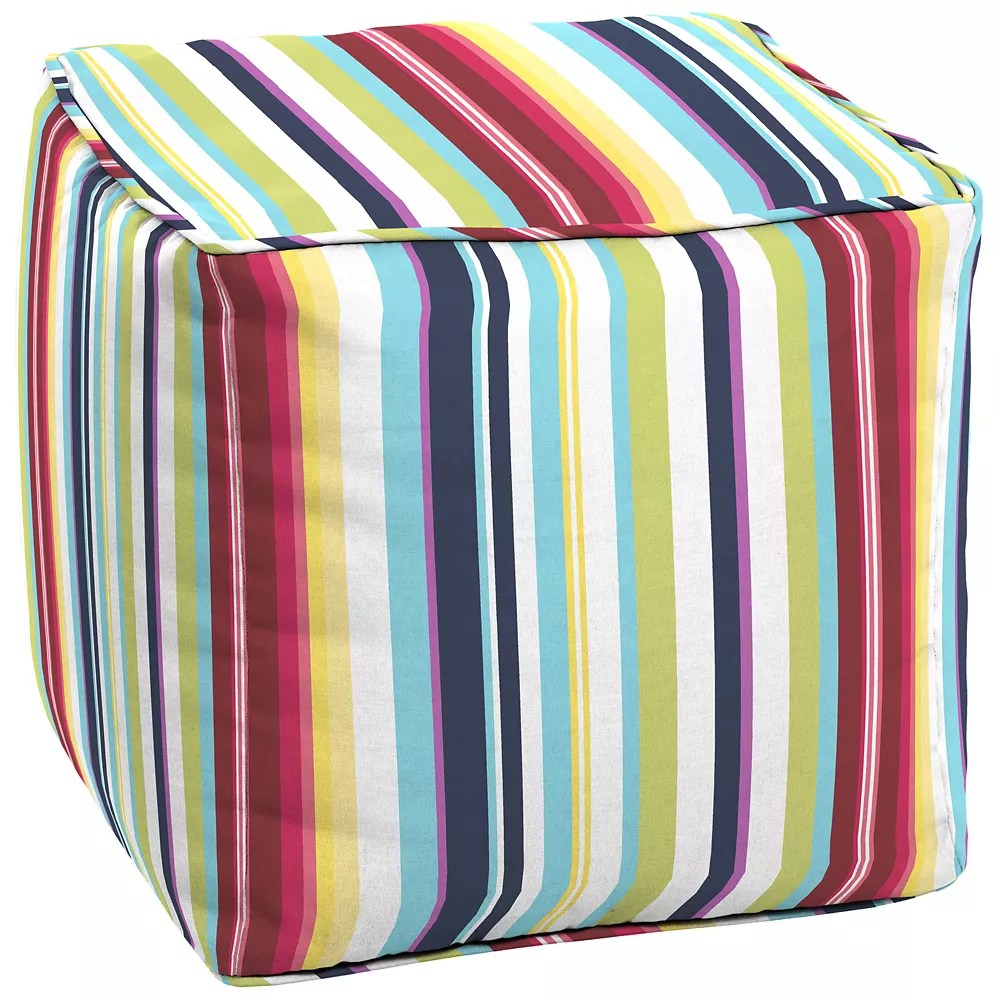 Hampton Bay Carnival Square Patio Pouf Cushion In Multi Colour Stripe The Home Depot Canada