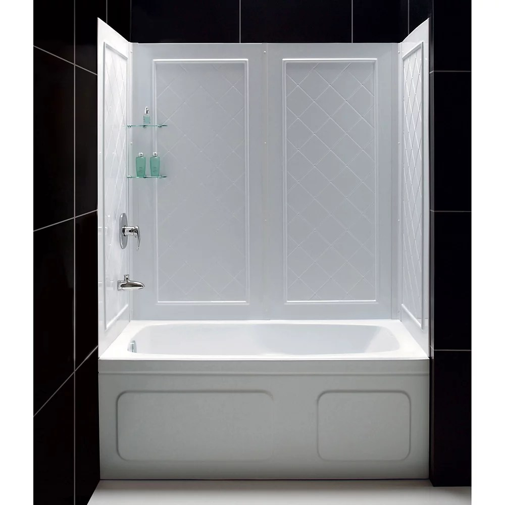 Dreamline Qwall Tub 28 32 Inch D X 56 To 60 Inch W X 60 Inch H 4 Piece Easy Up Adhesive Tu The Home Depot Canada