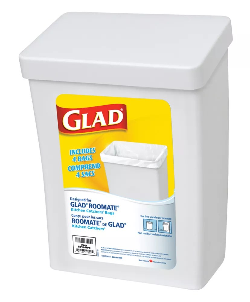 Glad Roomate White Garbage Container The Home Depot Canada