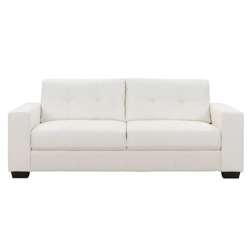 Corliving Club Tufted White Bonded Leather Sofa The Home Depot Canada