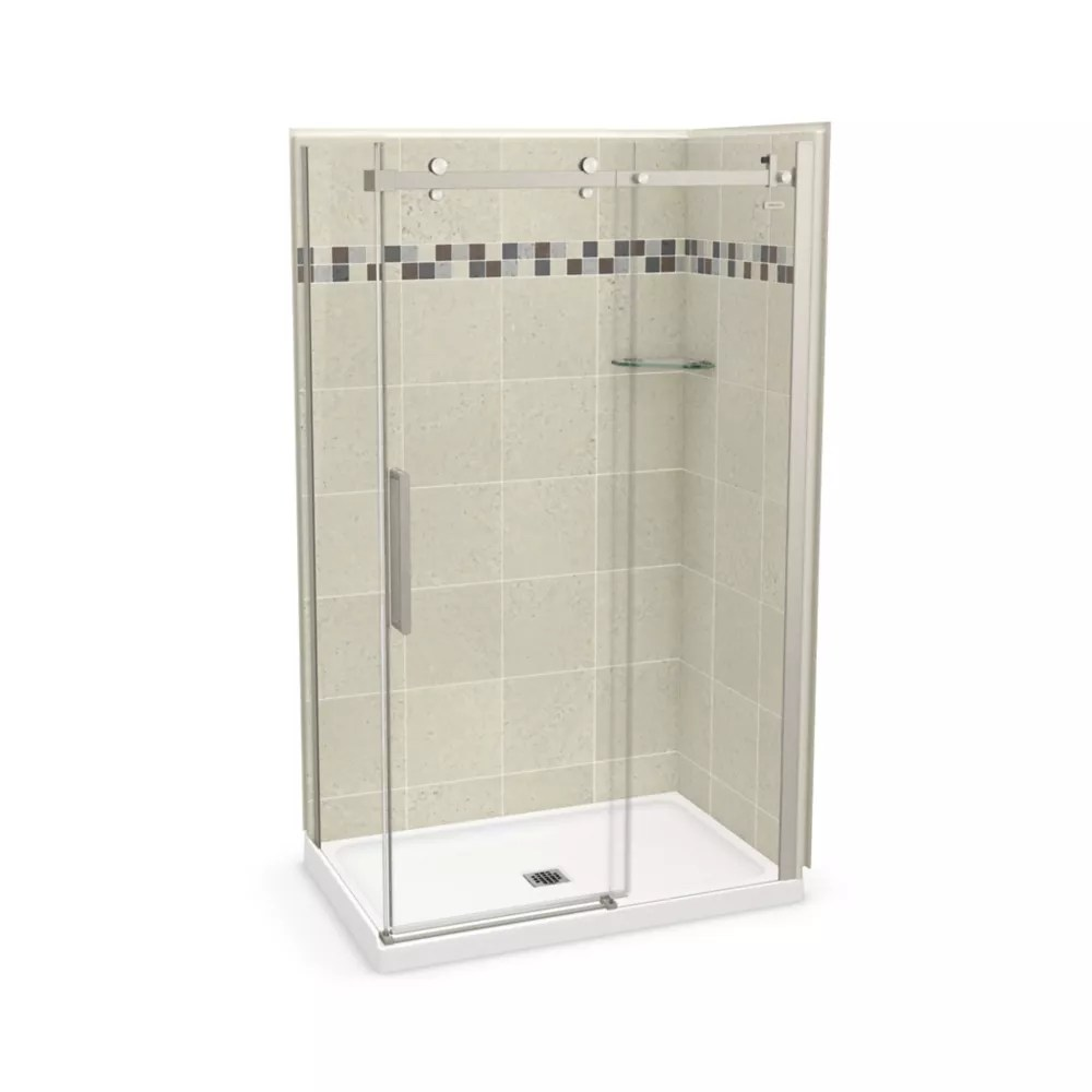 Maax Utile 48 Inch X 32 Inch Stone Sahara Corner Shower Kit With Brushed Nickel Door The Home Depot Canada