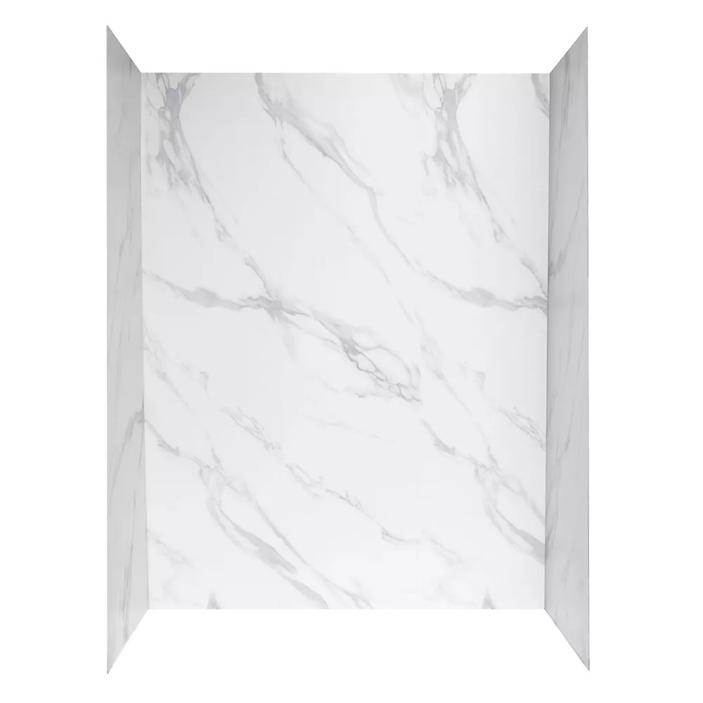 Glacier Bay 60 inch X 32 inch Shower Wall System in Carrara White | The Home Depot Canada
