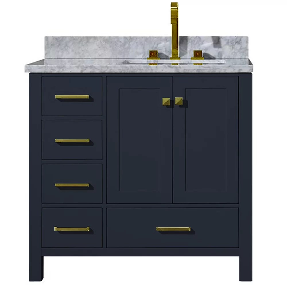 Ariel Ensemble Meuble Lavabo Cambridge 94 Cm De Couleur Bleu Minuit Avec Evier Rectangulai Home Depot Canada