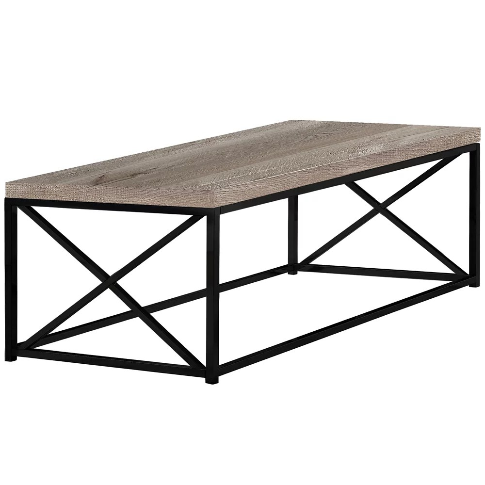 Monarch Specialties Table De Salon Faux Bois Taupe Metal Noir Home Depot Canada