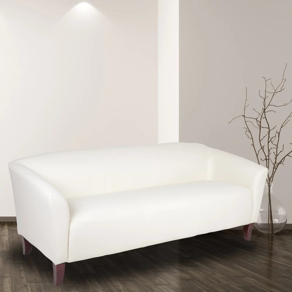 Flash Furniture Hercules Imperial Series White Leather Sofa The Home Depot Canada