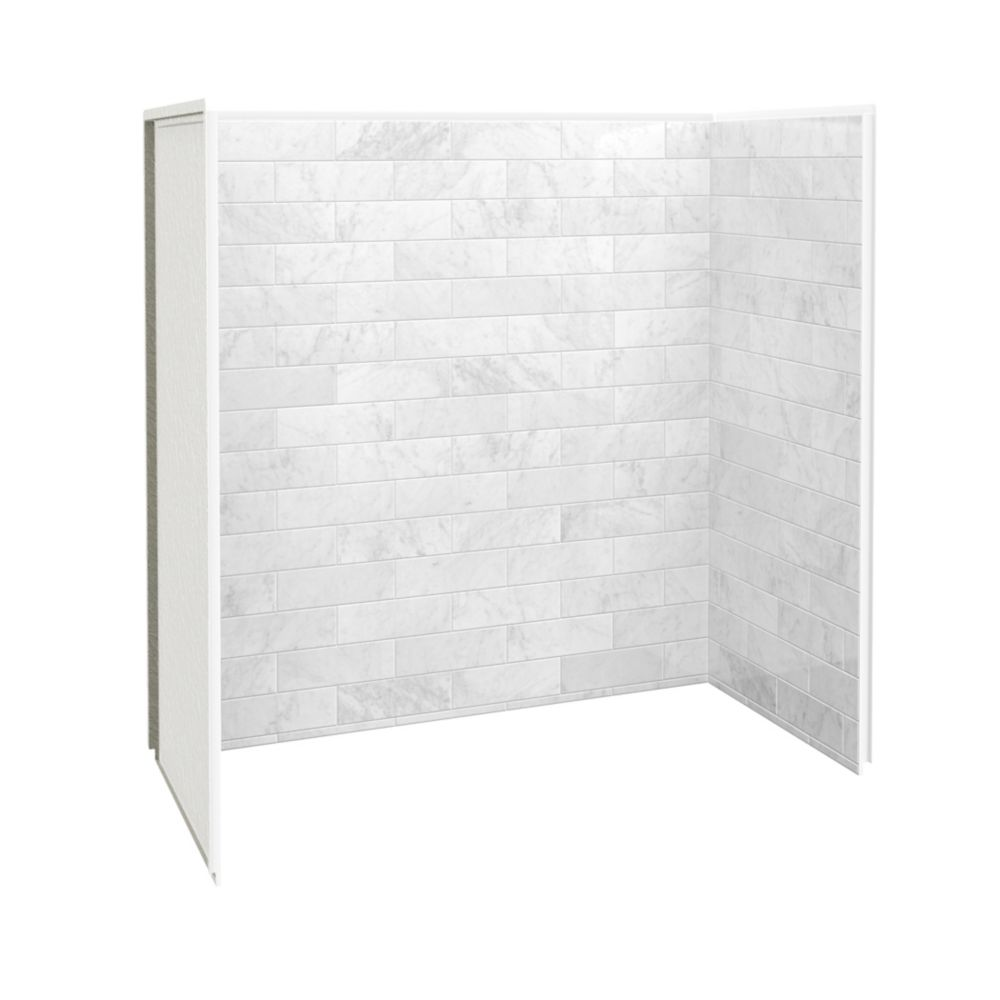 Maax Utile 60 Inch X 32 Inch X 60 Inch Tub Shower Wall Kit Marble Carrara 3 Panels Kit The Home Depot Canada