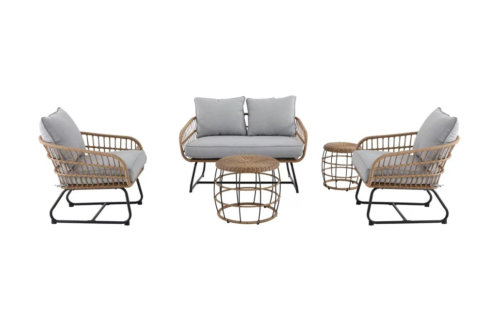 Hampton Bay Cayman Grey 5 Piece All Weather Wicker Patio Chat Set The Home Depot Canada