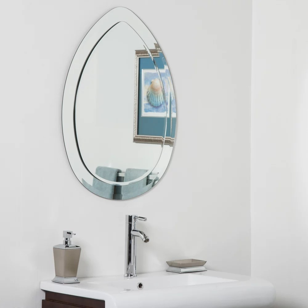 Decor Wonderland 31 Inch X 23 Inch Oval Droplet Modern Bathroom Mirror With Beveled Edge The Home Depot Canada