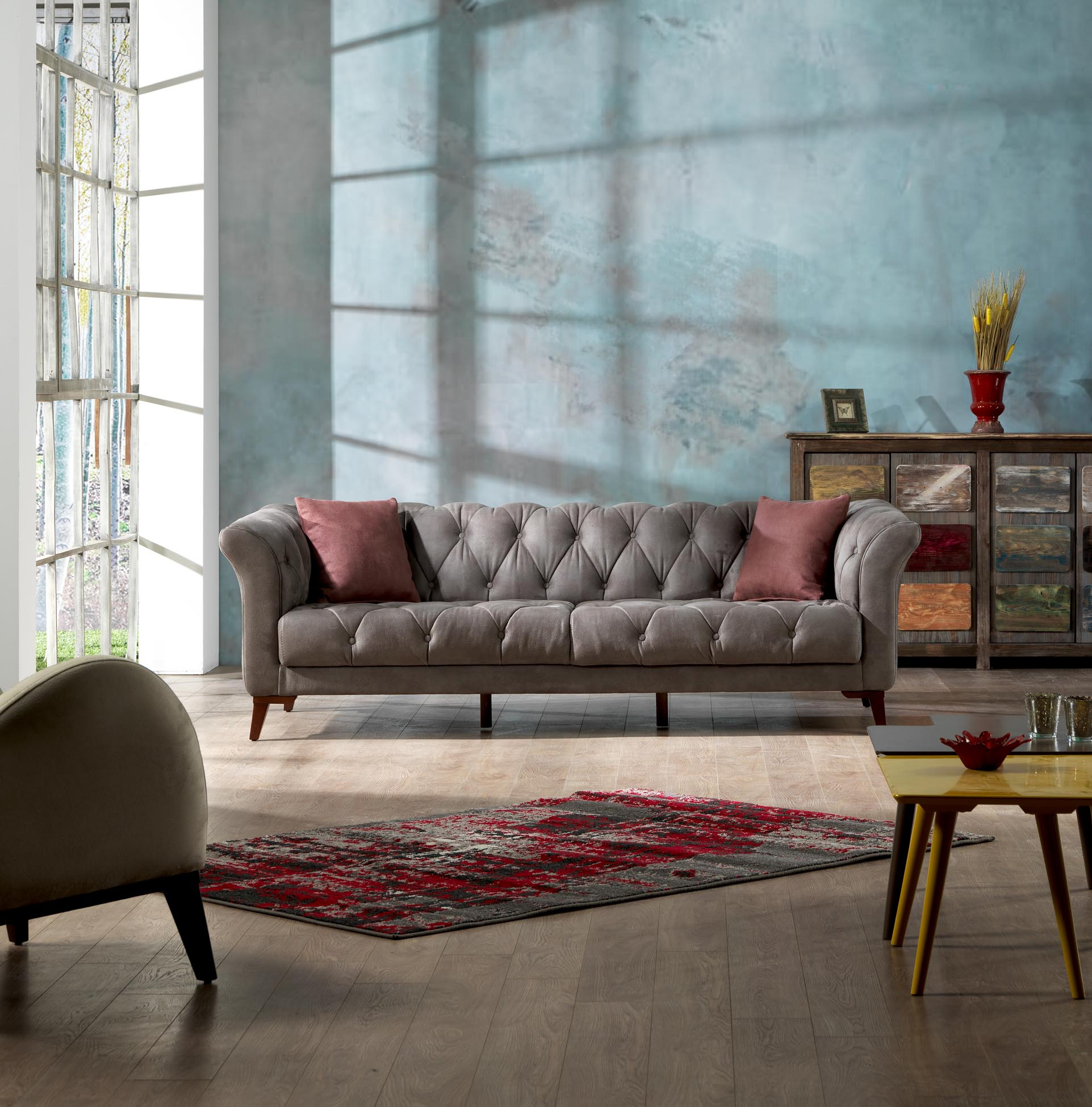 Grey Sofa Mare Collection Vega Mid Century Modern Tufted Chesterfield 3 Seater Sofa Smoke Gray