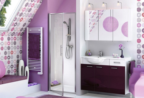 Black White And Silver Striped Wallpaper 15 Majestically Pleasing Purple And Lavender Bathroom