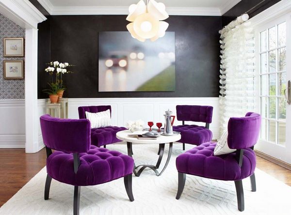 15 Pretty in Purple Living Room Furniture Home Design Lover - purple living room set