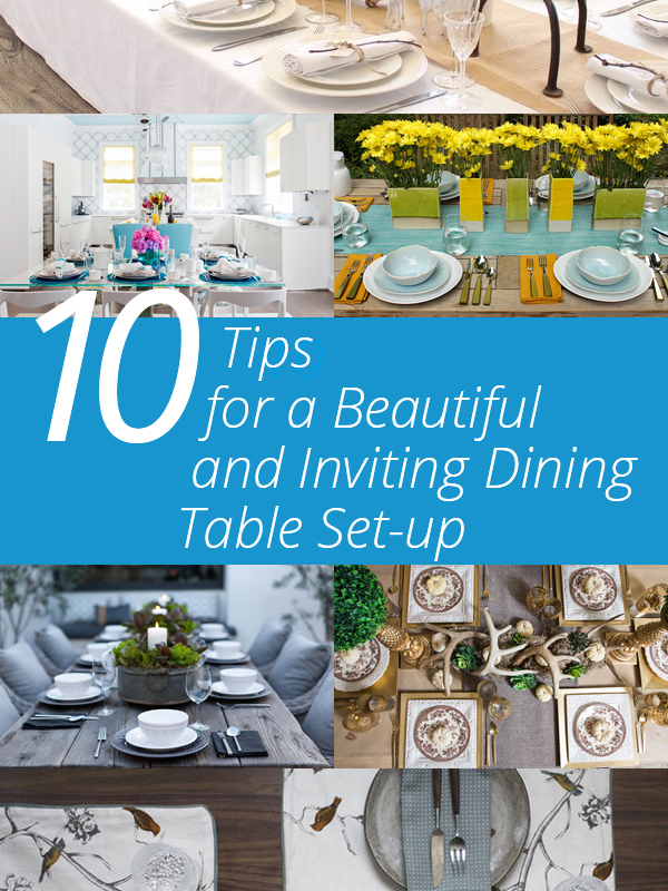 dining table setting with wedding dining room