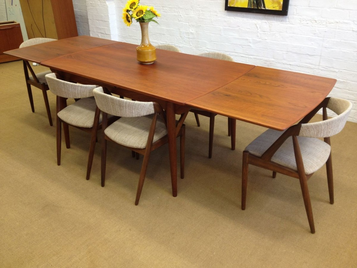 Mid Century Modern Dining Room Table And Chairs Large