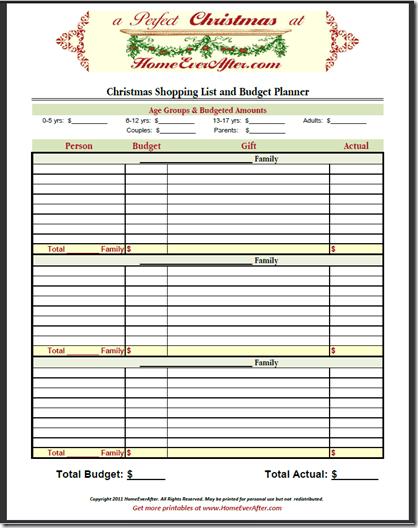 Christmas Shopping List Planner Budget Spreadsheet