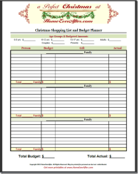 Christmas Shopping List Planner Budget Spreadsheet