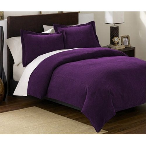 Chezmoi collection 3 pieces solid purple soft microsuede