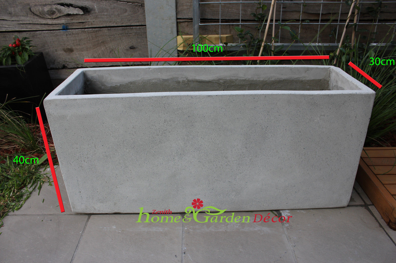 Concrete Outdoor Pots Garden Pots Batch Of 6 X 100cm Long Light Weight Concrete