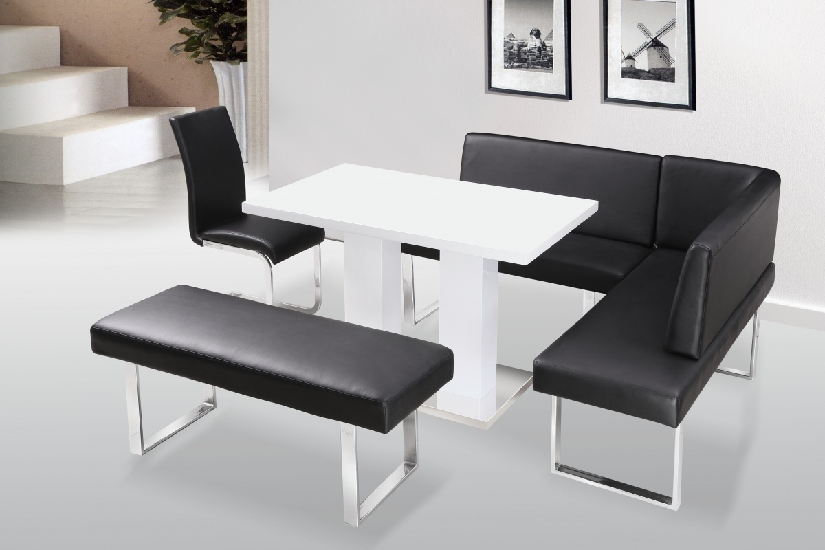 Eckbank Küche Modern Klein White High Gloss Dining Table & Chairs With Bench Set
