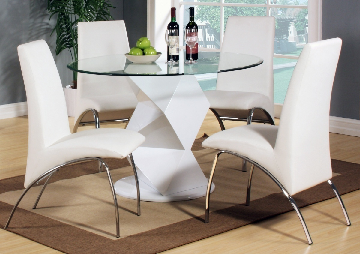 Modern Table Chairs Modern Round White High Gloss Clear Glass Dining Table And 4