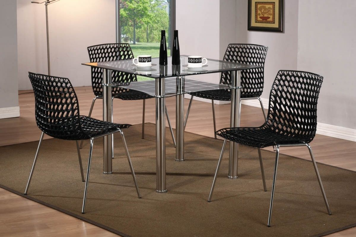 Small Dining Table Modern Modern Small Square Glass Dining Table And 4 Chairs