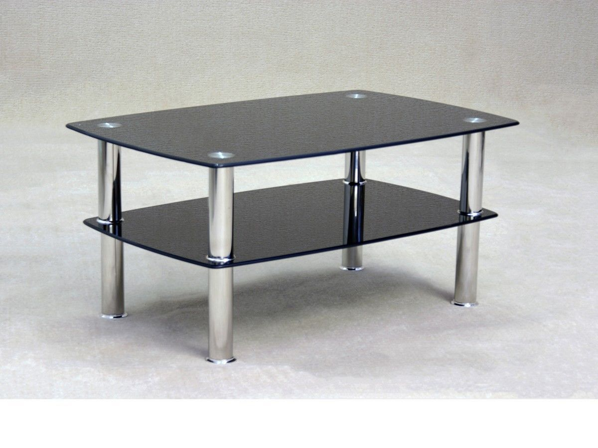 Coffee Table With Black Glass Top Black Glass Coffee Table With Storage Shelf Homegenies