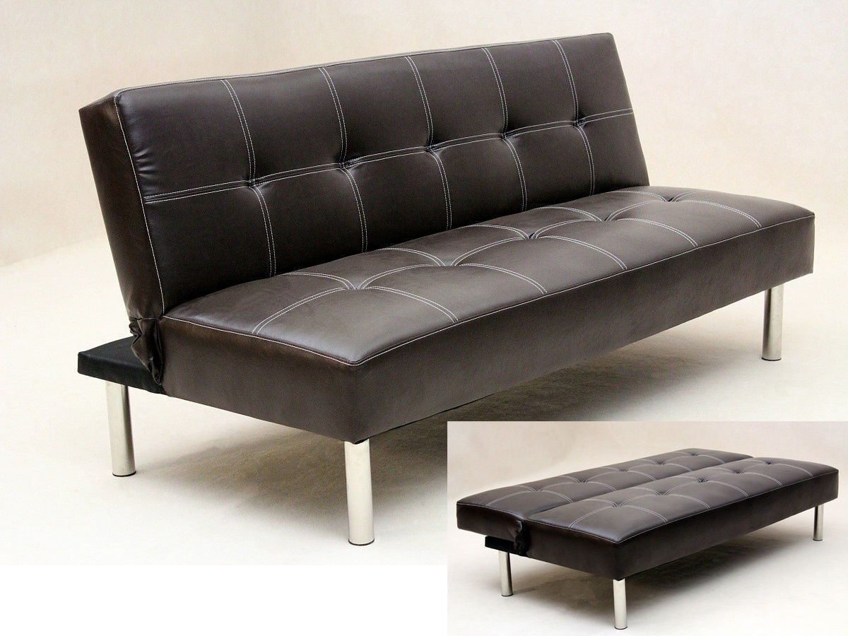 Sofa Set Price Rate Faux Leather 3 Seater Sofa Bed Brown Black Homegenies