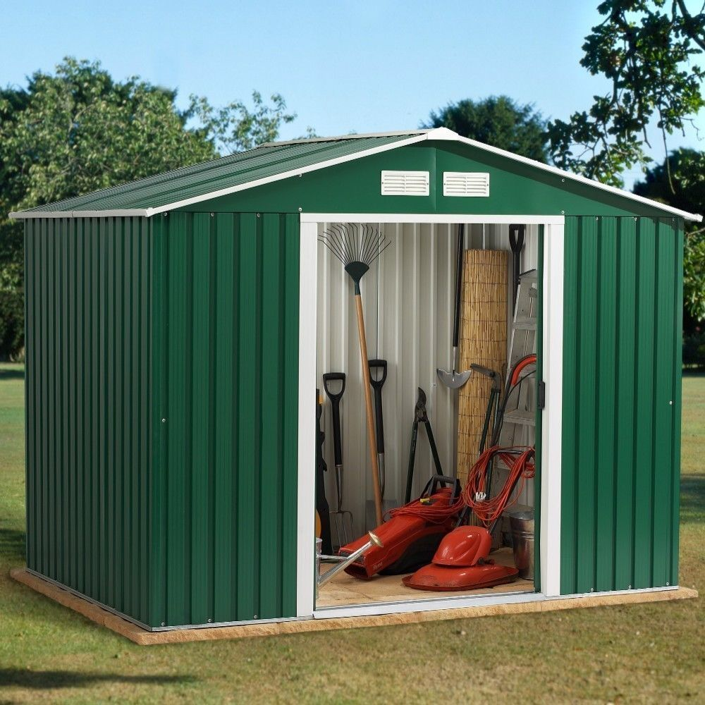Metalen Schuurtje Metal Garden Shed 8x8ft Green White With Apex Roof