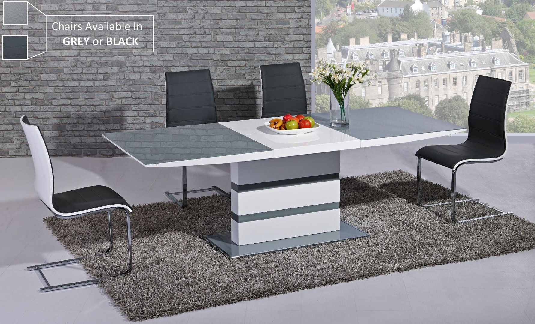 White Dining Table Extendable Extending Grey Glass White High Gloss Dining Table And 8 Chairs