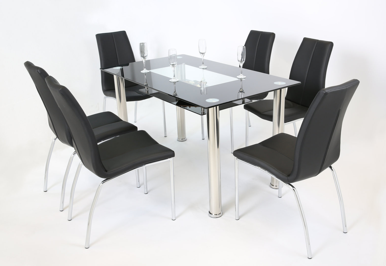 Black Dining Table And Chairs Black And Clear Glass Dining Table And 6 Chairs Homegenies