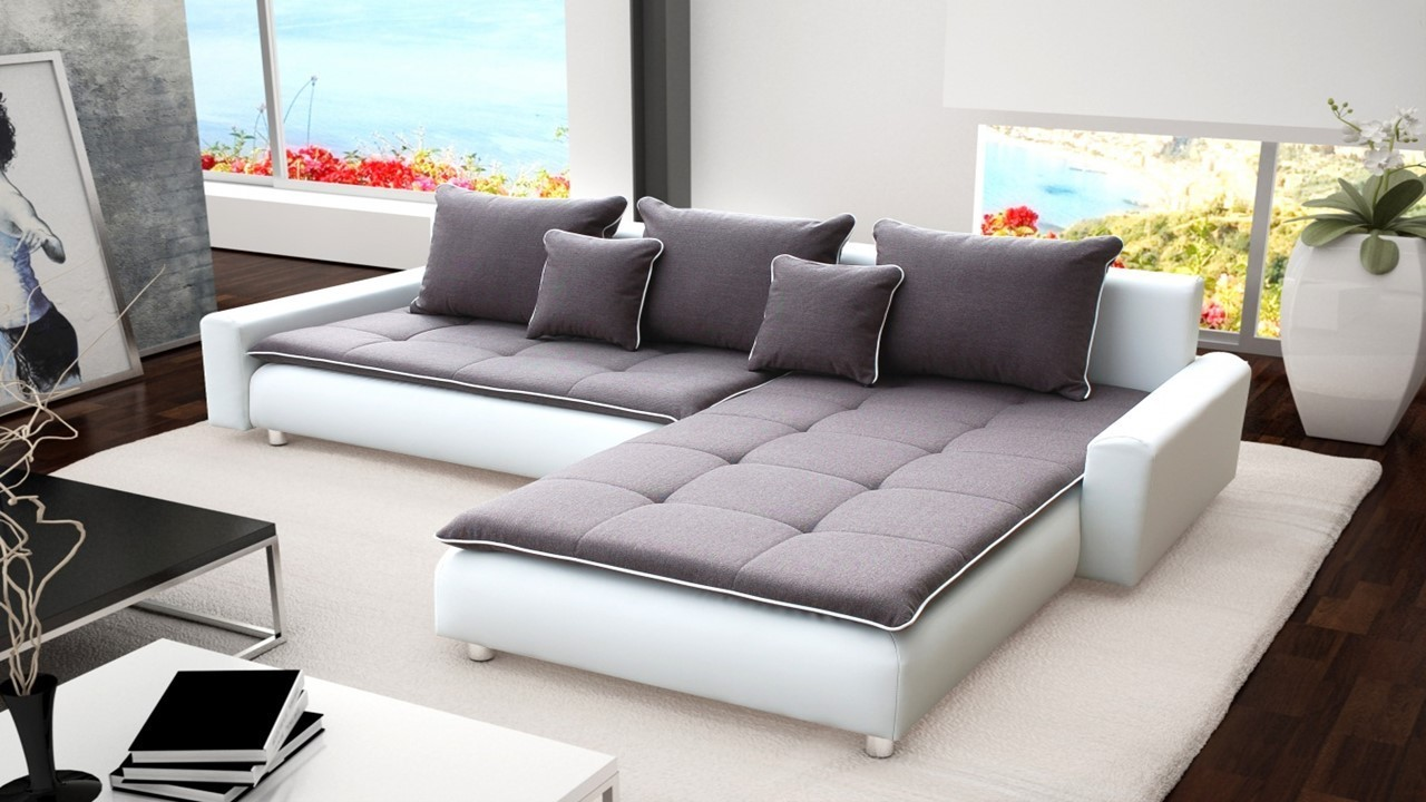 Ecksofa Grau Stoff Large White Faux Leather & Grey Fabric Corner Sofa