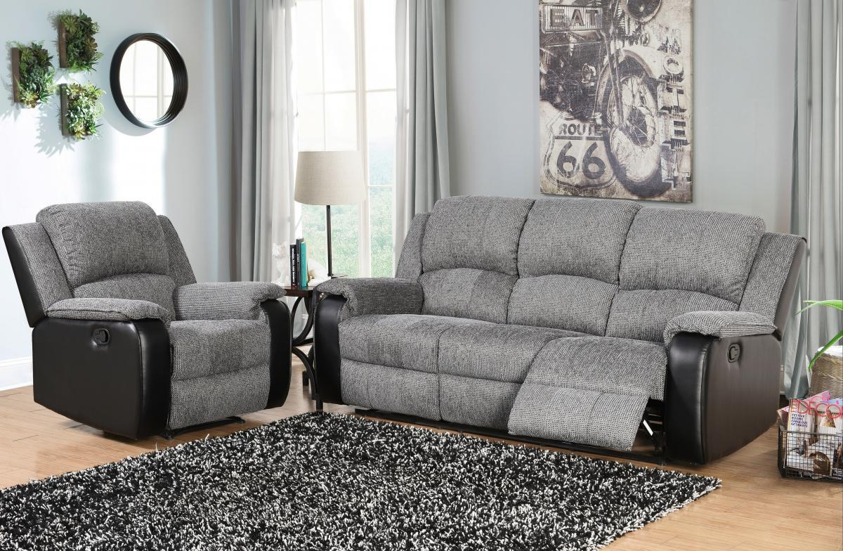 Sofa Set Price Rate Grey And Black Fabric And Faux Leather Sofa Set Homegenies