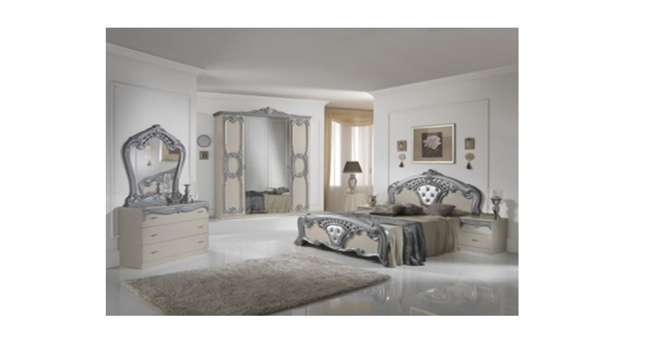 Italian Furniture Bedroom High Gloss Beige Silver Italian Bedroom Furniture Set