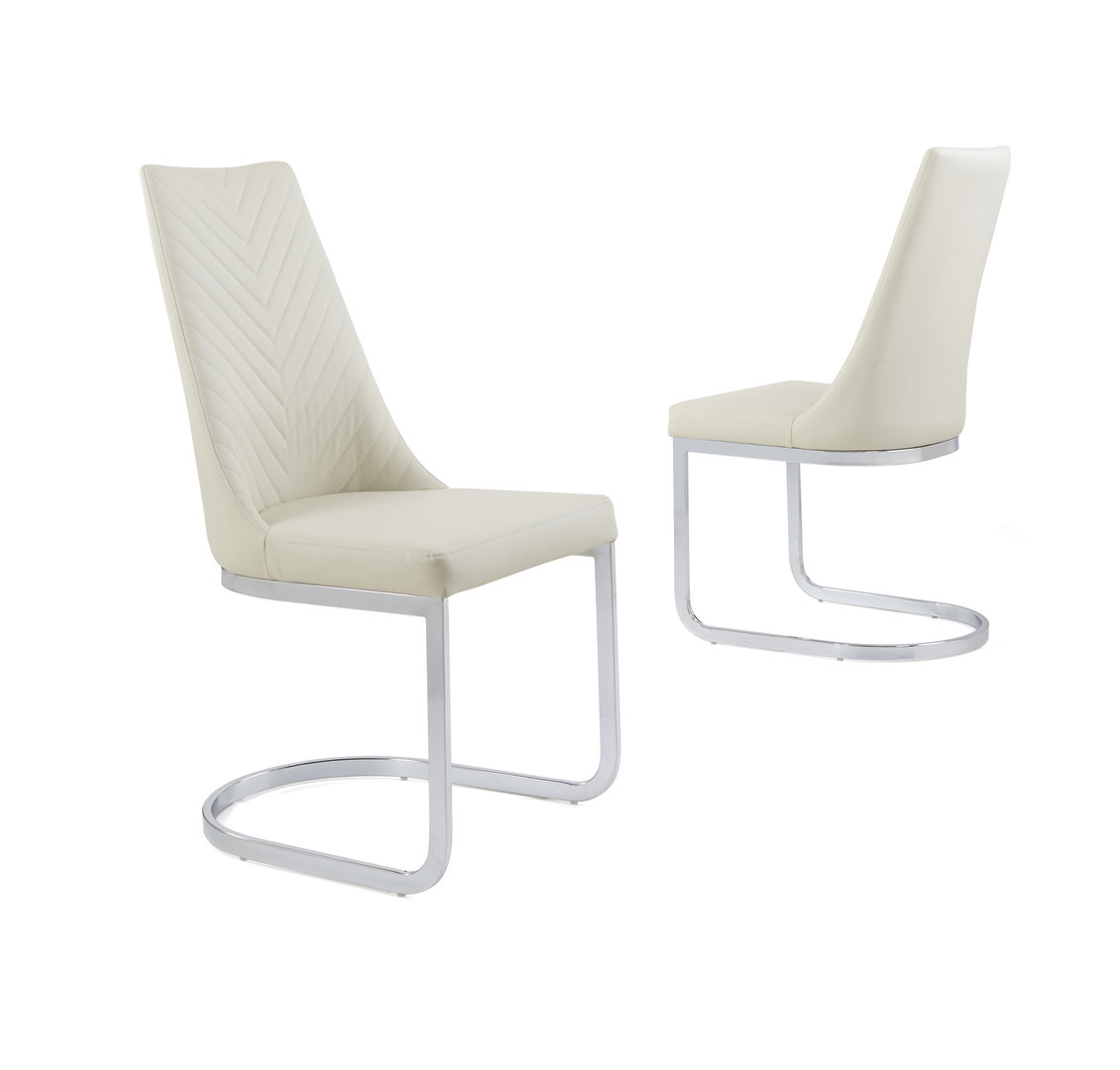 Cream Leather Dining Chairs Cream Faux Leather Dining Chair With Curved Leg Homegenies