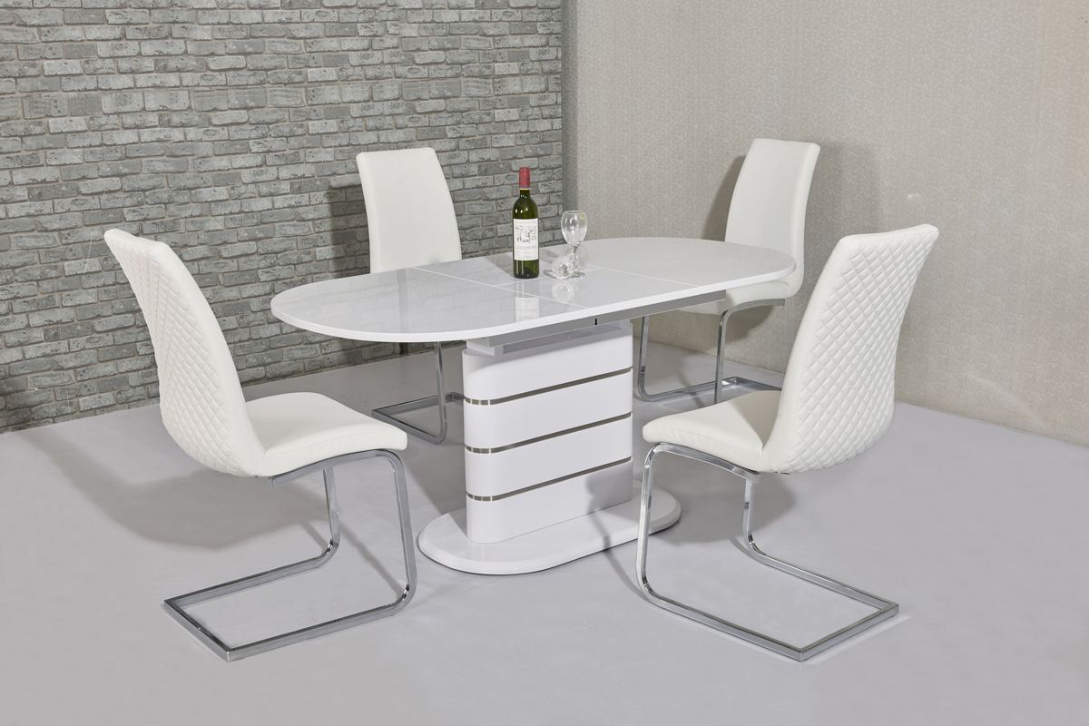 Small White Table And Chairs Small Oval White Gloss Dining Table And 4 White Chairs