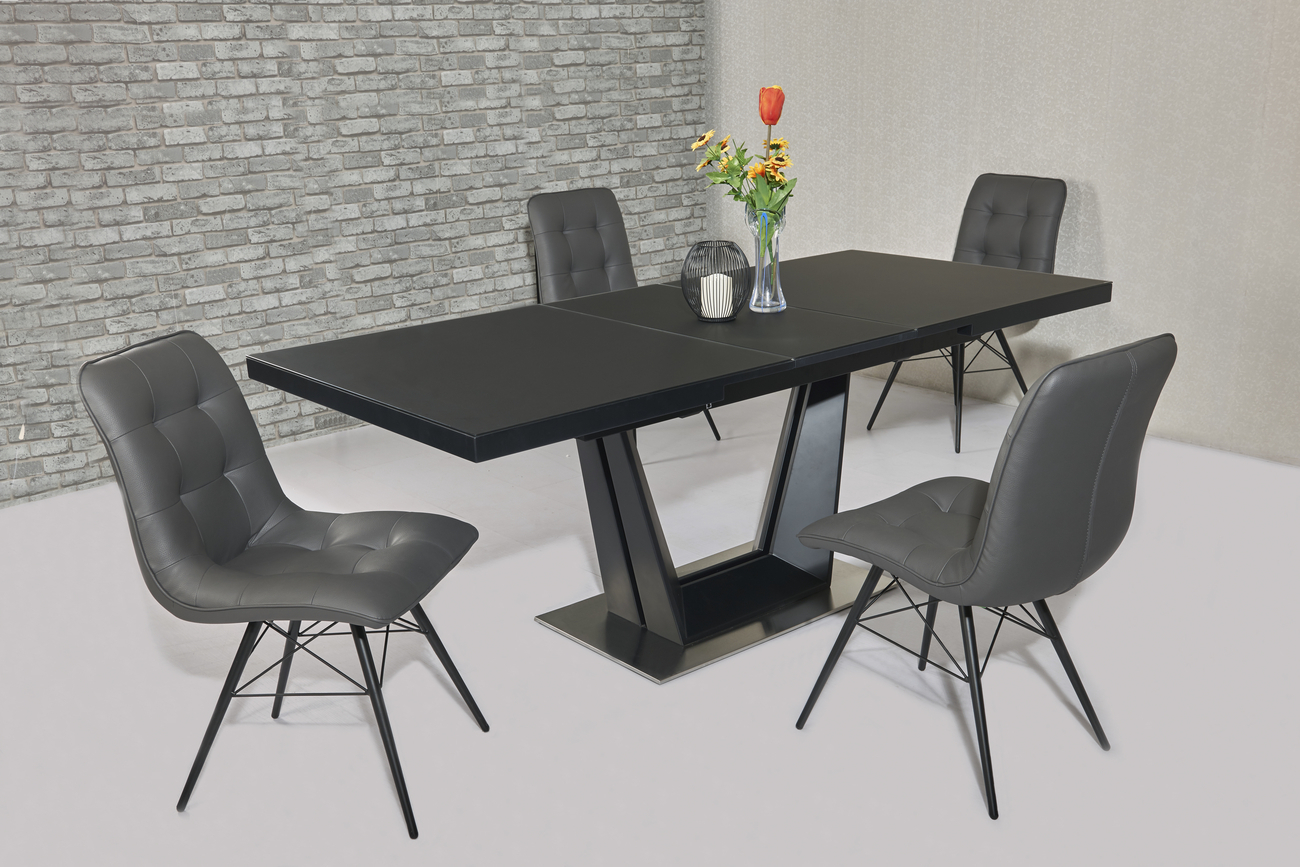 Black Dining Table And Chairs Matt Black Glass Dining Table And 8 Grey Chairs Homegenies