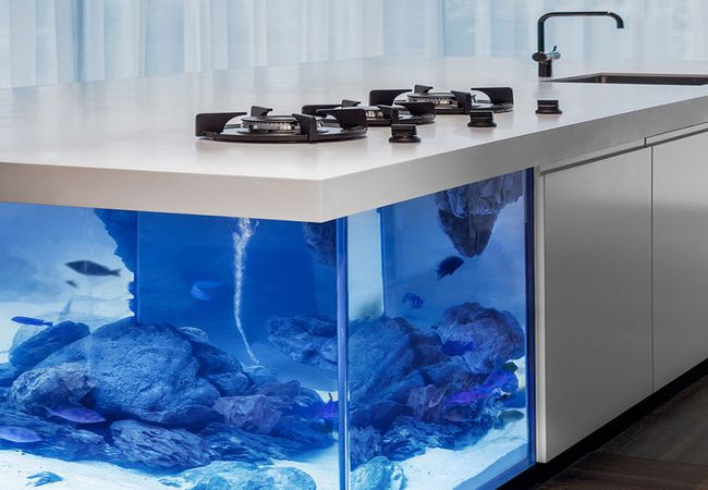 Robert Kolenik 39 S Ocean Kitchen Counter Top With Its Aquarium