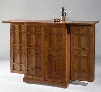 Folding Home Bar On Wheels With Regal Oak Finish - Home ...