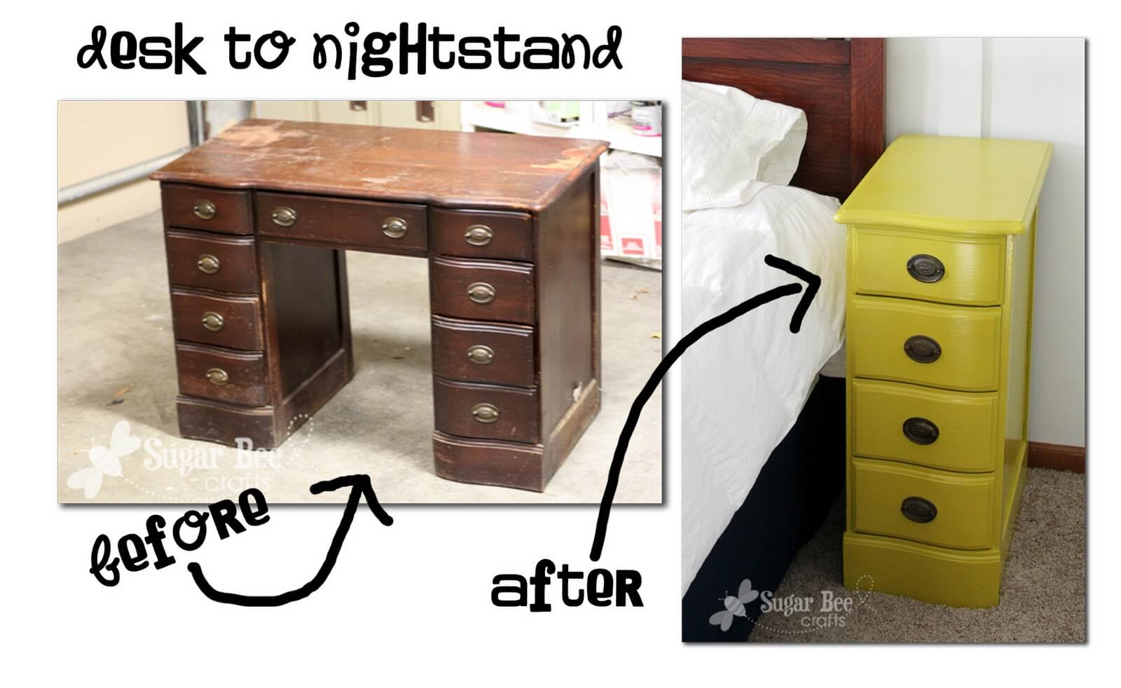 Creative Nightstand Ideas Old Desk Turns Into New Nightstands Homejelly