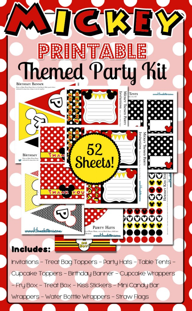 Mickey Mouse Themed Party Printables HUGE Kit { FREE for 48 hours!}