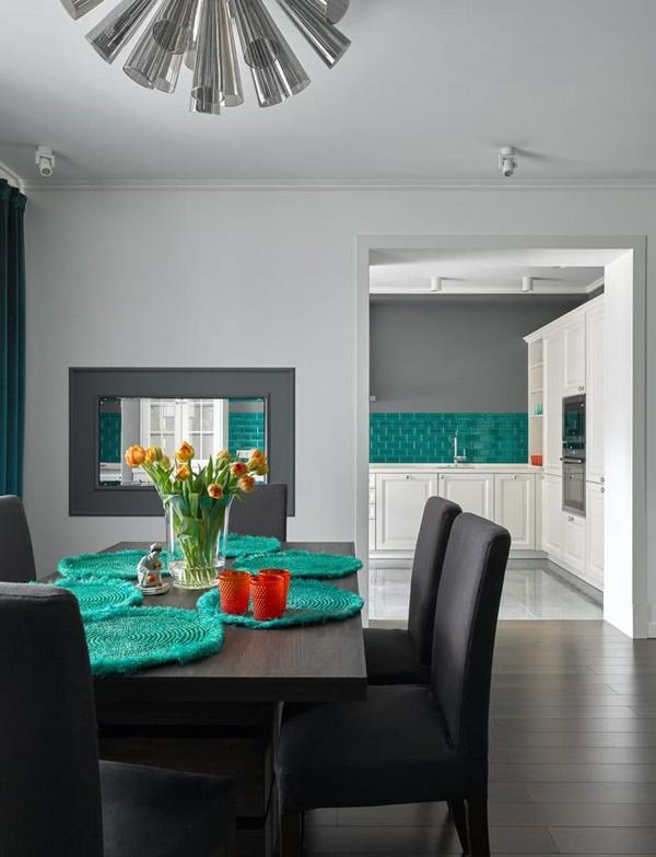 Apartment with noble color palette emerald azure ochre - Living room color palette generator ...