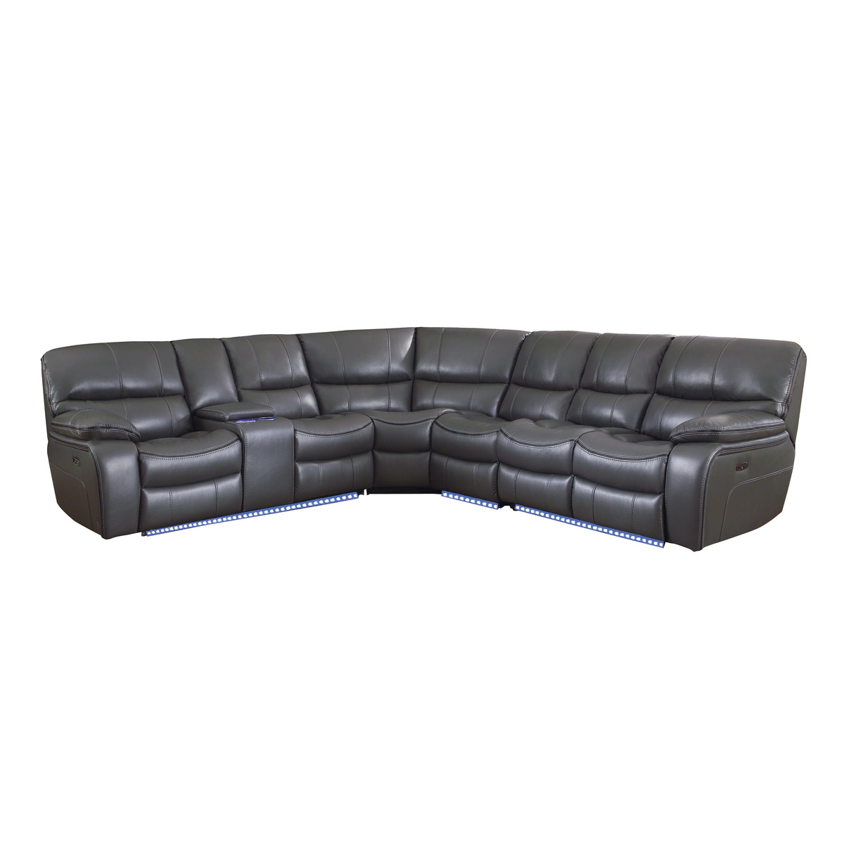 8480gry 4scpd 4 Piece Modular Power Reclining Sectional With Left Console And Led