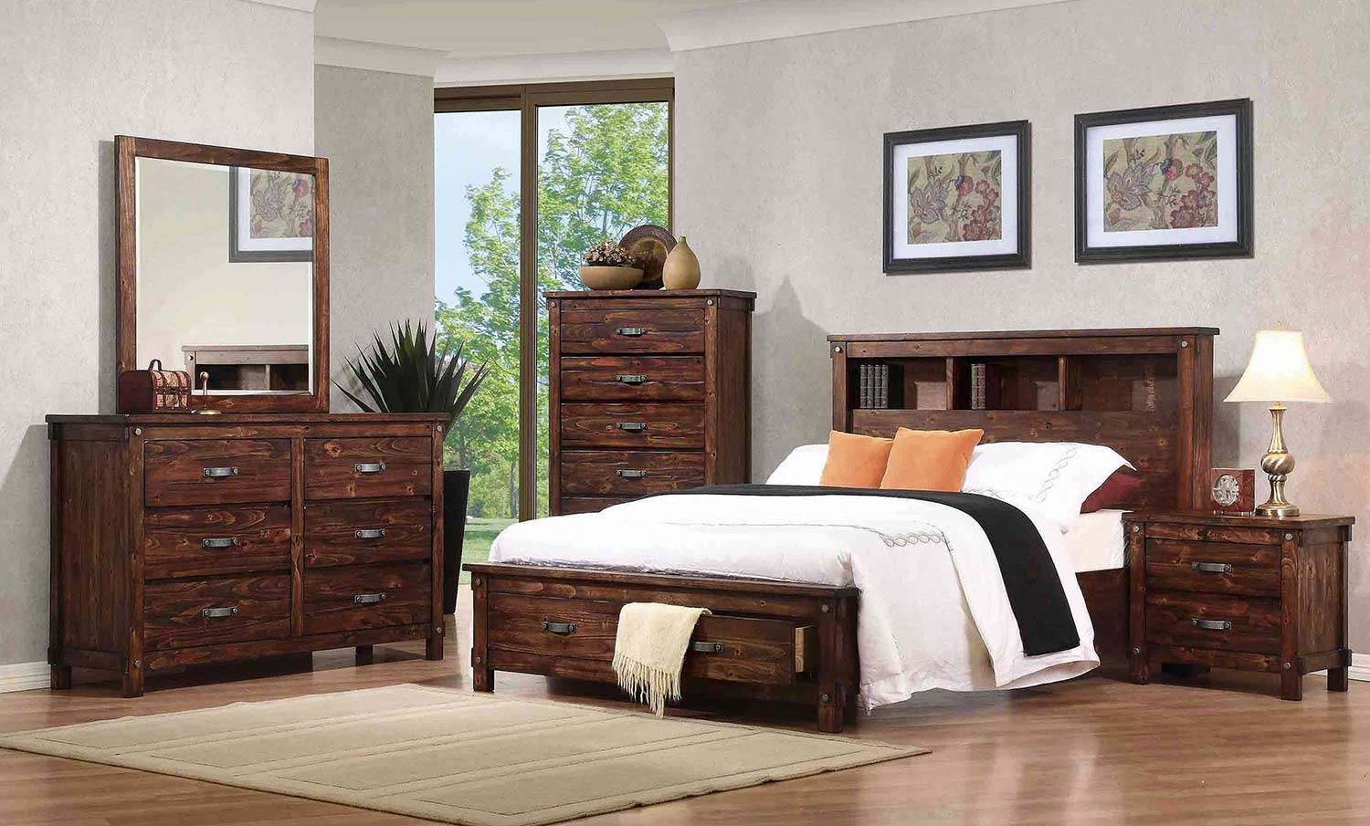 Two Bedroom Set Coaster Noble Bookcase Platform Storage Bedroom Set